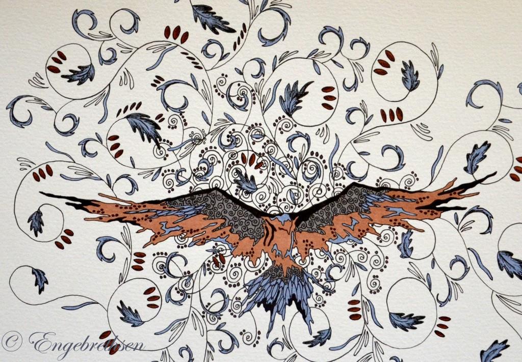 brunblå fågel stämpel